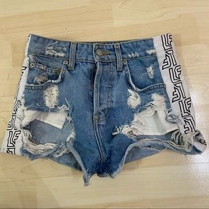 LF The Label Denim Shorts High Waisted Heavily Distressed Ripped Logo Side